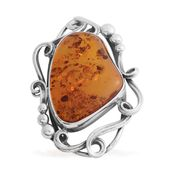 Artisan Crafted Baltic Amber Sterling Silver Pendant without Chain