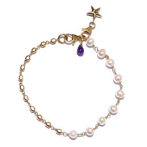 GP Freshwater Pearl - White, Multi Gemstone 14K YG Over Sterling Silver Bracelet with Charm (7.25 In) TGW 2.03 cts.