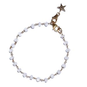 GP Sri Lankan Rainbow Moonstone, Madagascar Blue Sapphire 14K YG Over Sterling Silver Star Charm Bracelet (7.25 In) TGW 7.05 cts.