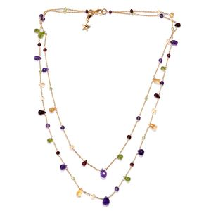 GP Multi Gemstone 14K YG Over Sterling Silver Necklace (20 in) wilth Charm TGW 41.63 cts.