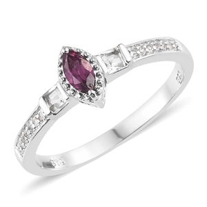 Purple Garnet, White Topaz Platinum Over Sterling Silver Ring (Size 7.0) TGW 0.62 cts.