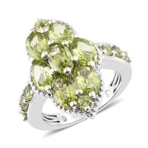 Hebei Peridot Platinum Over Sterling Silver Ring (Size 7.0) TGW 4.03 cts.