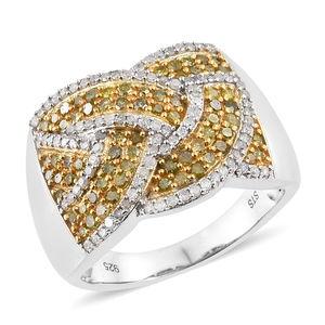Web TLV Yellow Diamond (IR), Diamond Yellow Rhodium & Platinum Over Sterling Silver Ring (Size 7.0) TDiaWt 1.00 cts, TGW 1.00 cts.