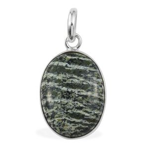 Artisan Crafted Green Zebra Jasper Sterling Silver Pendant without Chain TGW 8.84 cts.