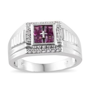 Purple Garnet, Cambodian Zircon Platinum Over Sterling Silver Men's Ring (Size 14.0) TGW 1.63 cts.