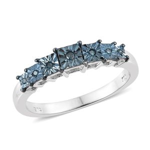 Blue Diamond (IR) Accent Platinum Over Sterling Silver Ring (Size 7.0) TDiaWt 0.05 cts, TGW 0.05 cts.