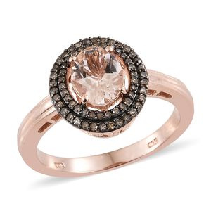 TLV Marropino Morganite, Natural Champagne Diamond Vermeil RG Over Sterling Silver Double Halo Ring (Size 5.0) TDiaWt 0.32 cts, TGW 2.00 cts.