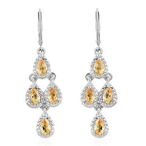 KARIS Collection - Brazilian Citrine Platinum Bond Brass & Stainless Steel Earrings TGW 1.60 cts.