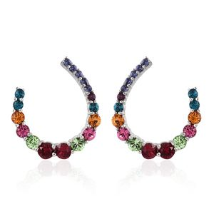 KARIS Collection - Platinum Bond Brass Earrings Made with SWAROVSKI Multi Color Crystal TGW 5.44 cts.