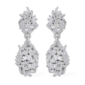 Diamond Platinum Over Sterling Silver Earrings TDiaWt 0.50 cts, TGW 0.50 cts.
