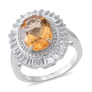 Becky Host Pick Brazilian Citrine, White Topaz Sterling Silver Halo Ring (Size 7.0) TGW 8.08 cts.