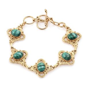 KARIS Collection - African Malachite ION Plated 18K YG Brass Bracelet (7.50 In) TGW 13.95 cts.