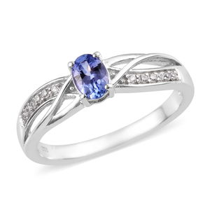 Tanzanite, Cambodian Zircon Platinum Over Sterling Silver Ring (Size 5.0) TGW 0.71 cts.