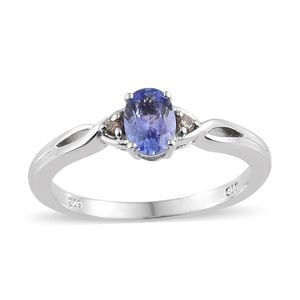 Tanzanite, Natural Champagne Diamond Accent Platinum Over Sterling Silver Ring (Size 7.0) TGW 0.79 cts.