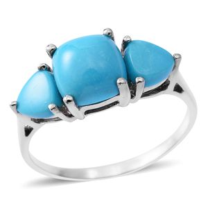 Arizona Sleeping Beauty Turquoise Platinum Over Sterling Silver Trilogy Ring (Size 9.0) TGW 3.44 cts.