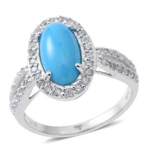 Arizona Sleeping Beauty Turquoise, White Zircon Sterling Silver Halo Ring (Size 9.0) TGW 3.88 cts.