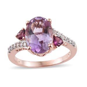 Customer Appreciation Day Rose De France Amethyst, Multi Gemstone Vermeil RG Over Sterling Silver Ring (Size 8.0) TGW 6.46 cts.