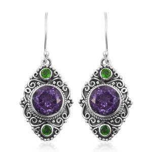 Artisan Crafted Rose De Maroc Amethyst, Russian Diopsode Sterling Silver Dangle Earrings Total Gem Stone Weight 10.05 Carat