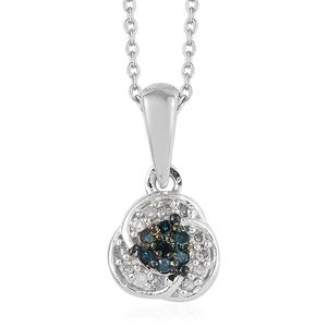 Blue Diamond (IR), Diamond Platinum Over Sterling Silver Pendant With Chain (20 in) TDiaWt 0.10 cts, TGW 0.10 cts.
