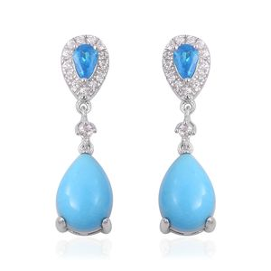 Arizona Sleeping Beauty Turquoise, Multi Gemstone Sterling Silver Dangle Earrings TGW 4.31 cts.