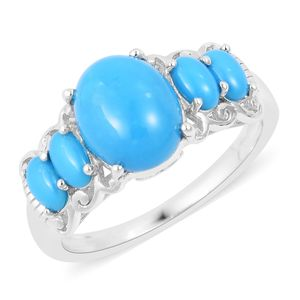 Arizona Sleeping Beauty Turquoise Sterling Silver 5 Stone Ring (Size 7.0) TGW 4.00 cts.