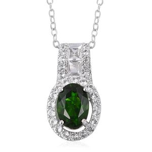 Russian Diopside, White Topaz Sterling Silver Pendant With Chain (18 in) TGW 1.30 cts.