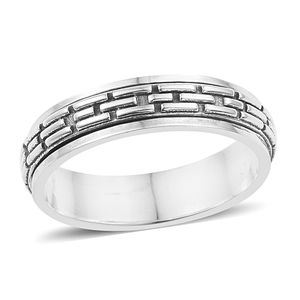 Doorbuster Artisan Crafted Sterling Silver Striped Spinner Ring (Size 8.0)