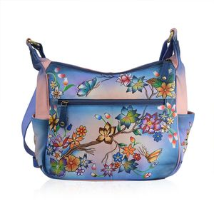 SUKRITI - Pink and Blue Genuine Leather Hand Painted Beauty of Nature Handbag (12x4.5x12 in)