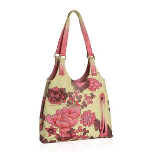 SUKRITI - Red Floral Pattern Genuine Leather Hand Painted Shoulder Bag (14x3.5x12 in)