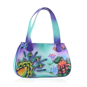 SUKRITI - Aqua Floral and Butterfly Hand Painted Genuine Leather Shoulder Bag with Standing Studs (15x3.5x9 in)