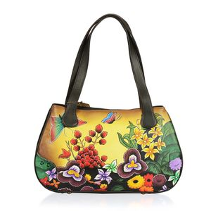 SUKRITI - Brown Floral and Butterfly Hand Painted Genuine Leather Shoulder Bag with Standing Studs (15x3.5x9 in)