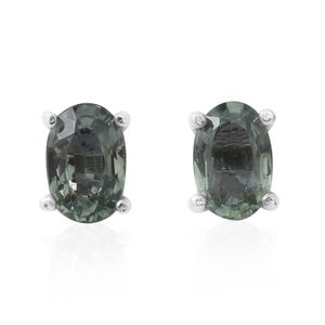 Green Sapphire Sterling Silver Stud Earrings TGW 1.14 cts.