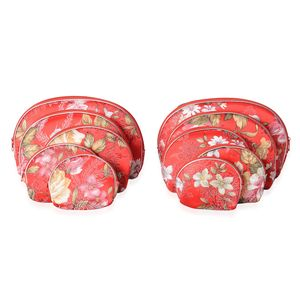 Set of 10 Pieces Red Flower Pattern Polyester, Rayon Fabric Jewelry Bags (8.7x5.7, 6.9x4.7, 5.5x3.9, 4.3x3.5, 3.5x2.9 in)