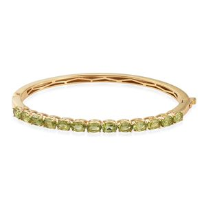 KARIS Collection - Hebei Peridot ION Plated 18K YG Brass Bangle (7.25 in) TGW 6.40 cts.