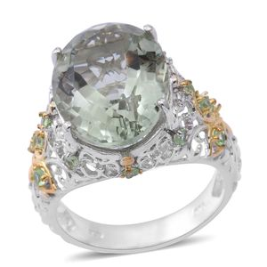 Green Amethyst, Tsavorite Garnet 14K YG Over and Sterling Silver Ring (Size 7.0) TGW 10.92 cts.