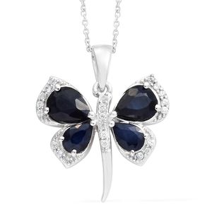 Madagascar Blue Sapphire, Cambodian Zircon Platinum Over Sterling Silver Dragonfly Pendant With Chain (20 in) TGW 4.00 cts.