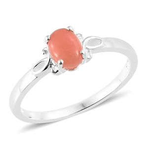 Oregon Peach Opal Sterling Silver Solitaire Ring (Size 7.0) TGW 0.55 cts.