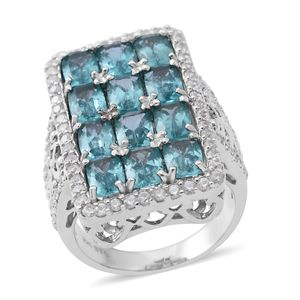 Madagascar Paraiba Apatite, Cambodian White Zircon Platinum Over Sterling Silver Ring (Size 5.0) TGW 6.66 cts.