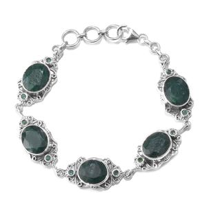 July 4th DOORBUSTER Artisan Crafted Emerald (Color Enhanced), Brazilian Emerald Sterling Silver Bracelet (8.00 In) TGW 34.62 cts.