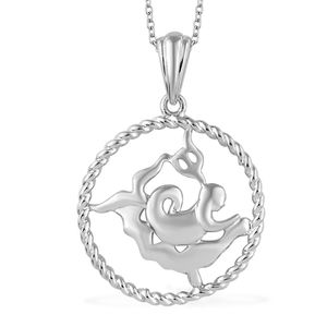 Aquarius Platinum Over Sterling Silver Mermaid Pendant With Chain (20 in)