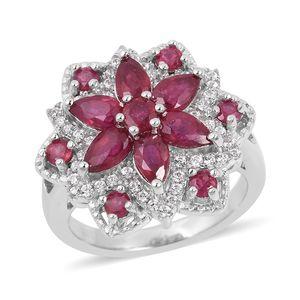 Niassa Ruby, White Zircon Sterling Silver Ring (Size 6.0) TGW 3.08 cts.