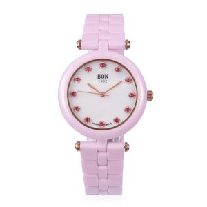EON 1962 Burmese Ruby, Pink Ceramic Swiss Movement Water Resistant Watch in ION Plated RG & Stainless Steel TGW 0.24 cts.