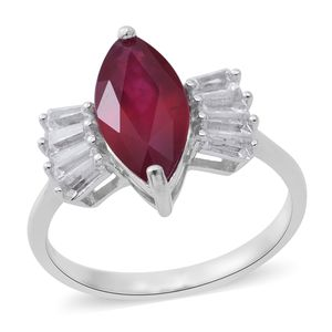 Niassa Ruby, White Topaz Sterling Silver Ring (Size 10.0) TGW 5.12 cts.