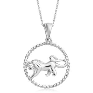Leo Platinum Over Sterling Silver Lion Pendant With Chain (20 in)