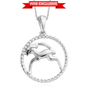 Capricorn Platinum Over Sterling Silver Goat Pendant With Chain (20 in)