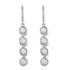 KARIS Collection - Australian White Opal Platinum Bond Brass Earrings TGW 1.33 cts.
