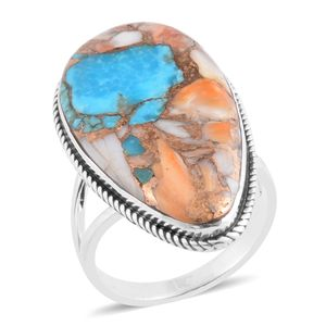 Santa Fe Style Spiny Turquoise Sterling Silver Split Ring (Size 7.0) TGW 1.25 cts.