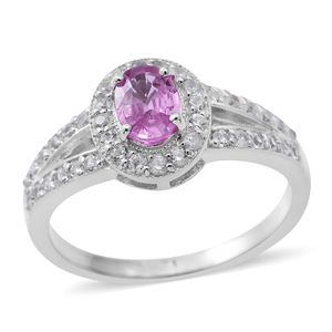 Madagascar Pink Sapphire, Cambodian White Zircon Platinum Over Sterling Silver Ring (Size 9.0) TGW 2.18 cts.