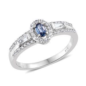 Ceylon Blue Sapphire, Cambodian Zircon Platinum Over Sterling Silver Ring (Size 7.0) TGW 0.95 cts.