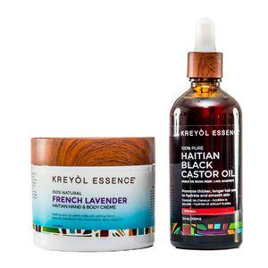Kreyol Essence Haitian Black Castor Oil, Haitian Hand & Body Cream (French Lavender) Duo